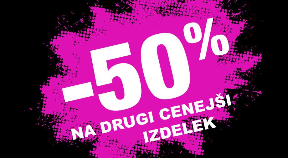 -50% na drugi, cenejši izdelek na vso ZAPRTO OBUTEV in TORBICE