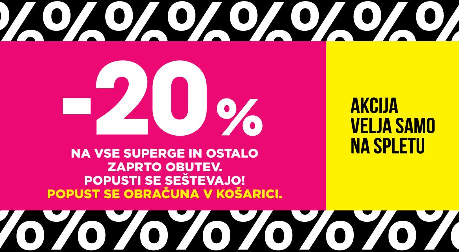 SAMO NA SPLETU: -20% na VSE SUPERGE in OSTALO ZAPRTO OBUTEV, brez izjeme